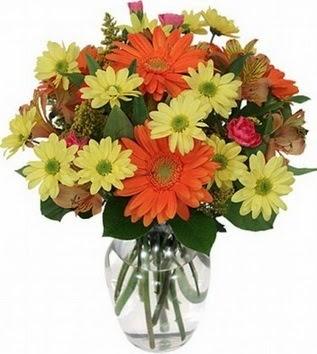 İstanbul Üsküdar hediye sevgilime hediye çiçek  vazo içerisinde karışık mevsim çiçekleri