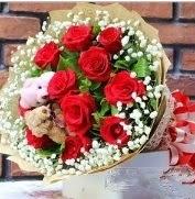 7 adet kırmızı gül 2 adet 10 cm ayı buketi  İstanbul Üsküdar çiçek siparişi vermek