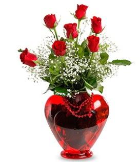 Kalp cam içinde 7 adet kırmızı gül  İstanbul Üsküdar çiçek siparişi sitesi