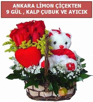 Kalp çubuk sepette 9 gül ve ayıcık  İstanbul Üsküdar çiçekçi telefonları